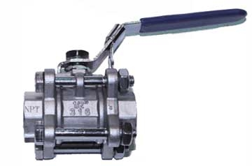 "3-piece (3pc) Ball Valve, 1/2"" NPT"