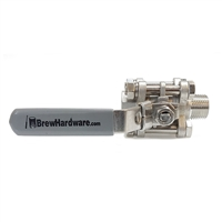 "3pc Ball Valve with 1/2"" NPT *****MALE/Female Threads"