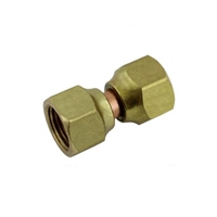 "Swivel Flare Coupler - 1/4"" FFL x 1/4"" FFL Brass"
