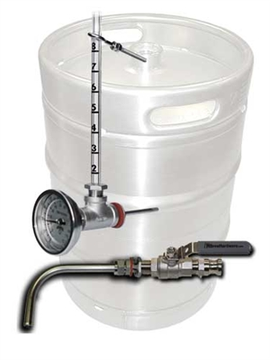 Keg to Kettle Conversion Kit - 2 Port Weld On Drain and Sightglass/Thermometer Combo