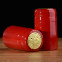 PVC Shrink Capsules Gloss Red and Gold 100 pack