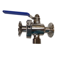 "Ball Valve (EZ Clean) with 1.5"" TC ports and bottom drain"