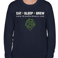 Eat Sleep Brew Tee Shirt - Long Sleeve - Navy Blue