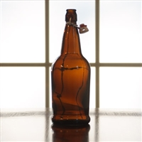 EZ Cap 1 Liter Amber Flip Top Bottles, Case of 12