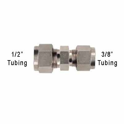 "1/2"" Tube to 3/8"" Tube Compression Adapter"