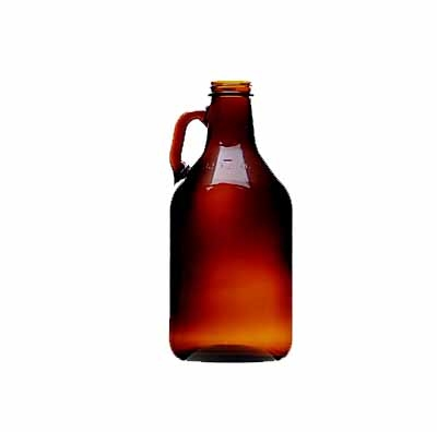 Growler, 32 ounce (1/4 gallon) glass jug, Brown with cap