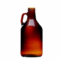 Growler, 64oz (1/2 gallon) glass jug, Brown with cap