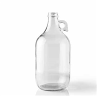 Growler, 64oz (1/2 gallon) glass jug,Clear with cap
