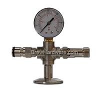 Spunding Valve Cross with Gas Input for 1.5 TC