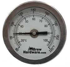 "Dial Thermometer - 2"" face, 4"" Probe, 1/4"" NPT"